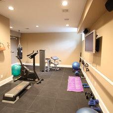 Transitional Home Gym by Hofmann Design Build, Inc.