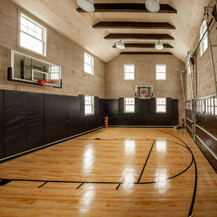 Inspiration for a large timeless indoor sport court remodel in New York with multicolored walls