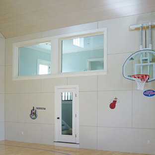 Indoor sport court - large traditional light wood floor and beige floor indoor sport court idea in Boston with beige walls
