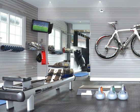 Mid sized home gym storage design ideas pictures