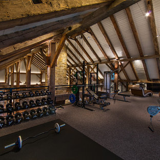 Most popular rustic home gym with white walls design ideas for