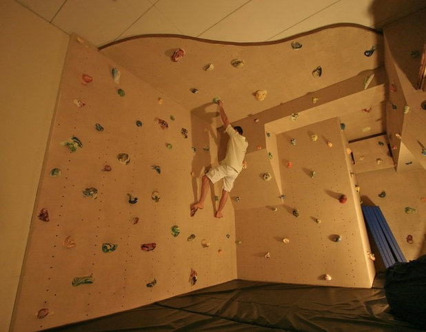 Eclectic Home Gym by Kuhl Design Build LLC. How to Install a Climbing Wall in Your Home