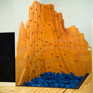 Inspiration for a large traditional home climbing wall in Salt Lake City with multi-coloured walls and plywood flooring.