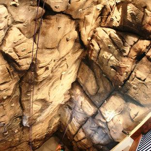 Idee per un'ampia parete da arrampicata rustica con pareti beige