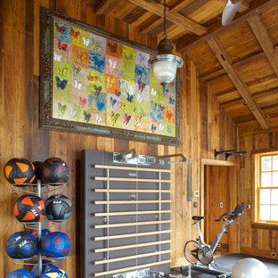 Home gym - cottage gray floor home gym idea in New York with brown walls