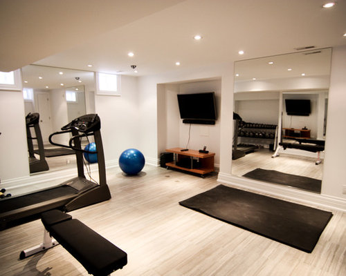 salle de sport avec un sol en carrelage de c ramique photos et id es d co de salles de sport. Black Bedroom Furniture Sets. Home Design Ideas