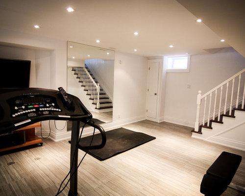 Small home gym with ceramic flooring design ideas