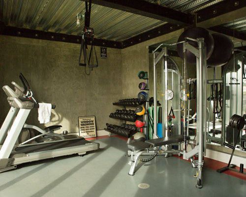 Home gym design ideas renovations photos with concrete