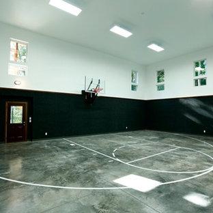 Ispirazione per un grande campo sportivo coperto stile rurale con pareti multicolore e pavimento in cemento