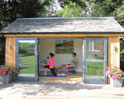 Garden summerhouse home gym design ideas pictures for Garden shed gym