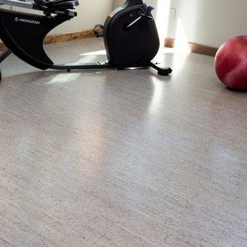 Silver Gray Cork Floor Home Gym