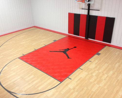 Snapsports custom logo indoor home gym basketball court for Custom indoor basketball court