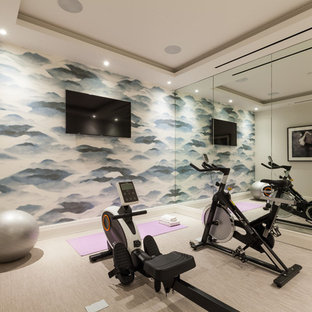 Contemporary multipurpose gym in London with beige walls and beige floor.