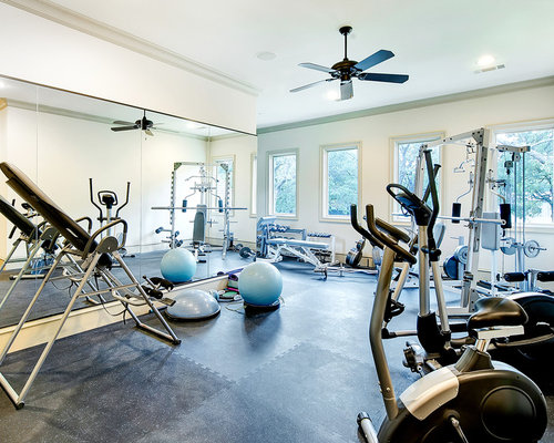 Example Of A Huge Classic Gray Floor Multiuse Home Gym Design In Dallas  With White Walls