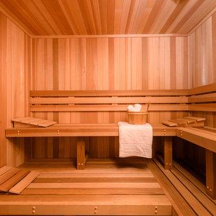 Foto di una palestra in casa stile marinaro