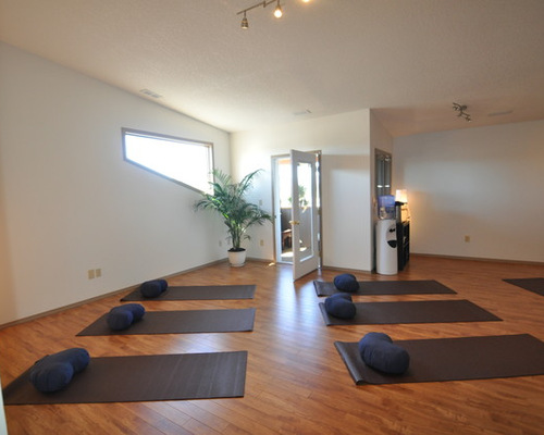 3 small home yoga studio design photos with blue walls - Home Yoga Room Design