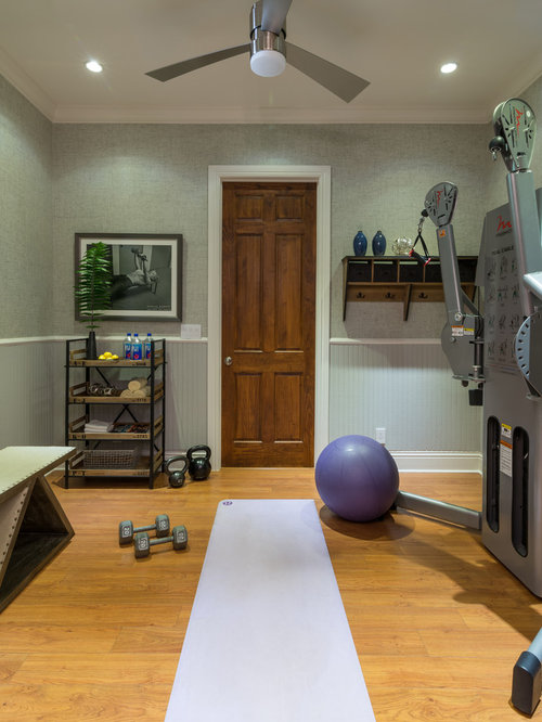 Small transitional home gym design ideas pictures