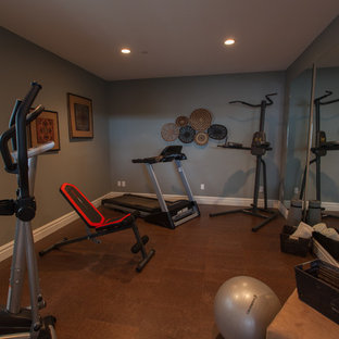 75 most popular home gym with blue walls and cork floors