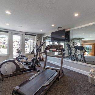 Example of an arts and crafts home gym design in Salt Lake City
