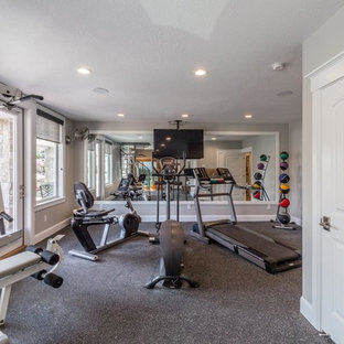 Multiuse home gym - large transitional vinyl floor and gray floor multiuse home gym idea in Salt Lake City with gray walls