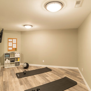 Example of a transitional home gym design in Other