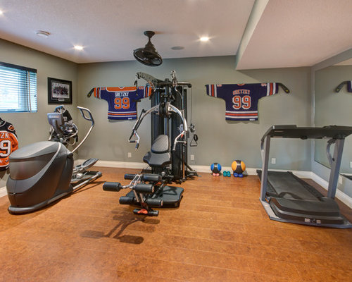 Traditional home gym with cork floors design ideas