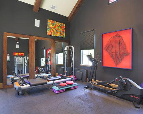 salle de sport avec un mur noir photos et id es d co de salles de sport. Black Bedroom Furniture Sets. Home Design Ideas