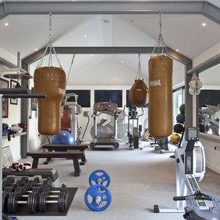 Design ideas for a medium sized classic multi-use home gym in Essex with white walls, carpet and grey floors.