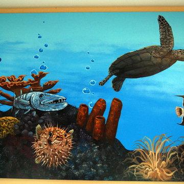 Three Panel Underwater Reef Murals by Tom Taylor of Mural Art LLC