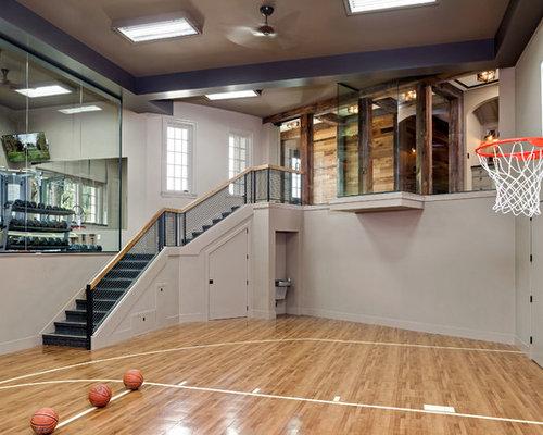 Traditional Medium Tone Wood Floor Indoor Sport Court Idea In Minneapolis  With Beige Walls
