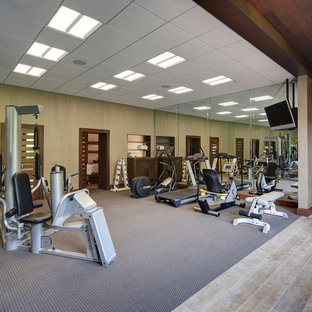 Most popular contemporary carpeted home gym design ideas for