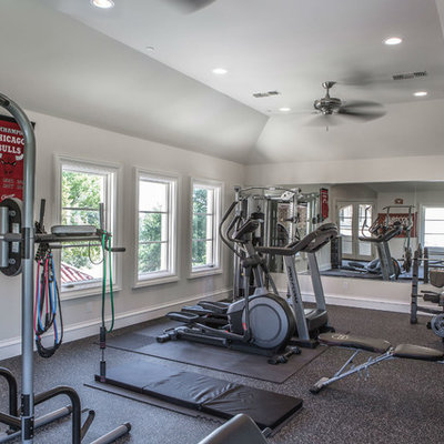 Home gym - transitional home gym idea in Dallas