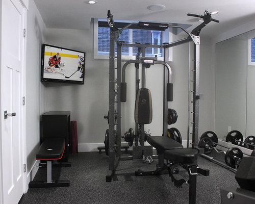 salle de musculation avec un mur gris photos et id es d co de salles de musculation. Black Bedroom Furniture Sets. Home Design Ideas