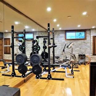 Most popular rustic home gym with gray walls design ideas for