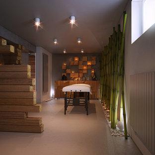 Foto di una palestra in casa minimalista