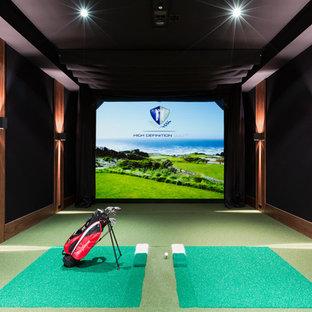 Aménagement d'un grand terrain de sport intérieur classique avec un mur noir, moquette et un sol vert.