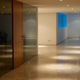 Multifunktionaler, Mittelgroßer Moderner Fitnessraum mit weißer Wandfarbe und Travertin in Sonstige