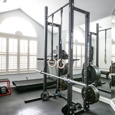 Example of a trendy home gym design
