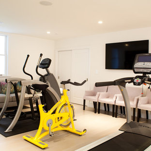 Multiuse home gym - contemporary beige floor multiuse home gym idea in Other with white walls