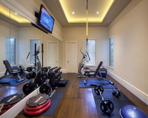 inspiration for a timeless home weight room remodel in orlando with beige walls dark hardwood. beautiful ideas. Home Design Ideas