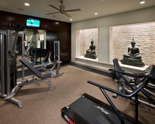 salle de musculation contemporaine photos et id es d co de salles de musculation. Black Bedroom Furniture Sets. Home Design Ideas