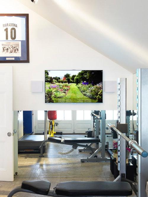 Fitnessraum mit kalkstein ideen design bilder houzz for Boden fitnessraum