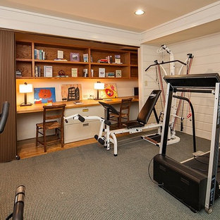 Inspiration for a timeless carpeted multiuse home gym remodel in Seattle with white walls