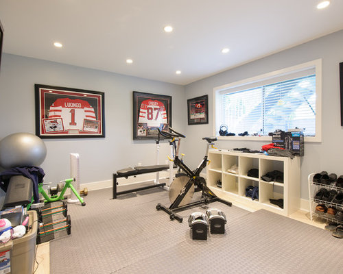 Grey storage and organization home gym design ideas