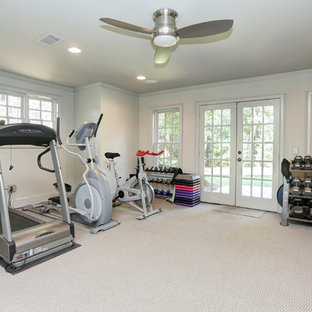 Medium sized traditional home weight room in Atlanta with grey walls, carpet and white floors.