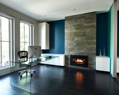 Houzz Office With Fireplace Design Ideas Amp Remodel Pictures