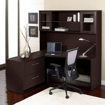 100 Collection Corner L Shaped Desk with Hutch and Lateral File