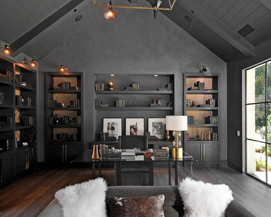 Transitional Home Office transitional dark gray home office design ideas, remodels & photos