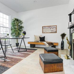 インディアナポリスの中サイズのモダンスタイルのおしゃれな書斎 (白い壁、淡色無垢フローリング、標準型暖炉、タイルの暖炉まわり、自立型机、ベージュの床) の写真