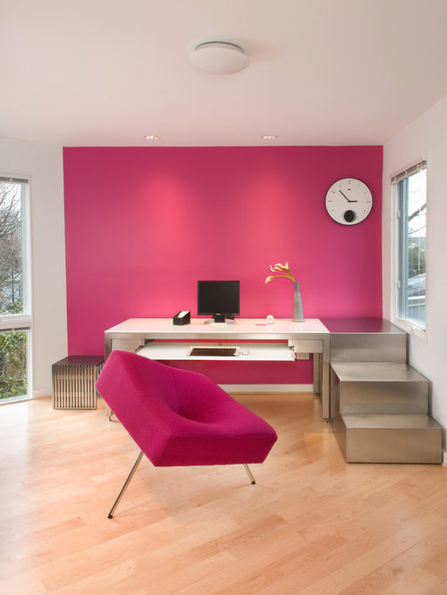 pink home office. perfect pink example of a minimalist freestanding desk light wood floor and beige home  office design in with pink home office
